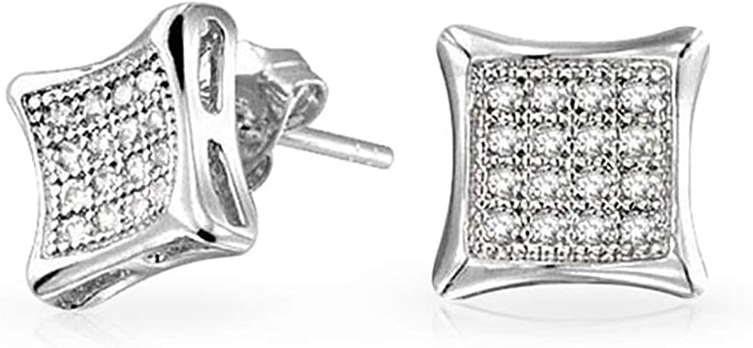 925 STERLING SILVER DOME STUD EARRINGS W// MAN MADE DIAMONDS// NEW DESIGN!!!!