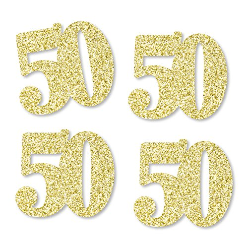 Gold Glitter 50 - No-Mess Real Gold Glitter Cut-Out Numbers - 50th Birthday Party Confetti - Set of 24 ()