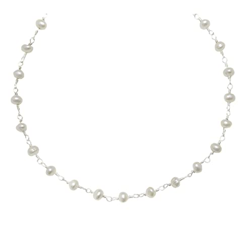 Sterling Silver And Silvertone Freshwater Cultured Pearl Necklace White Small Chain Link 3.0-3.5mm , 18
