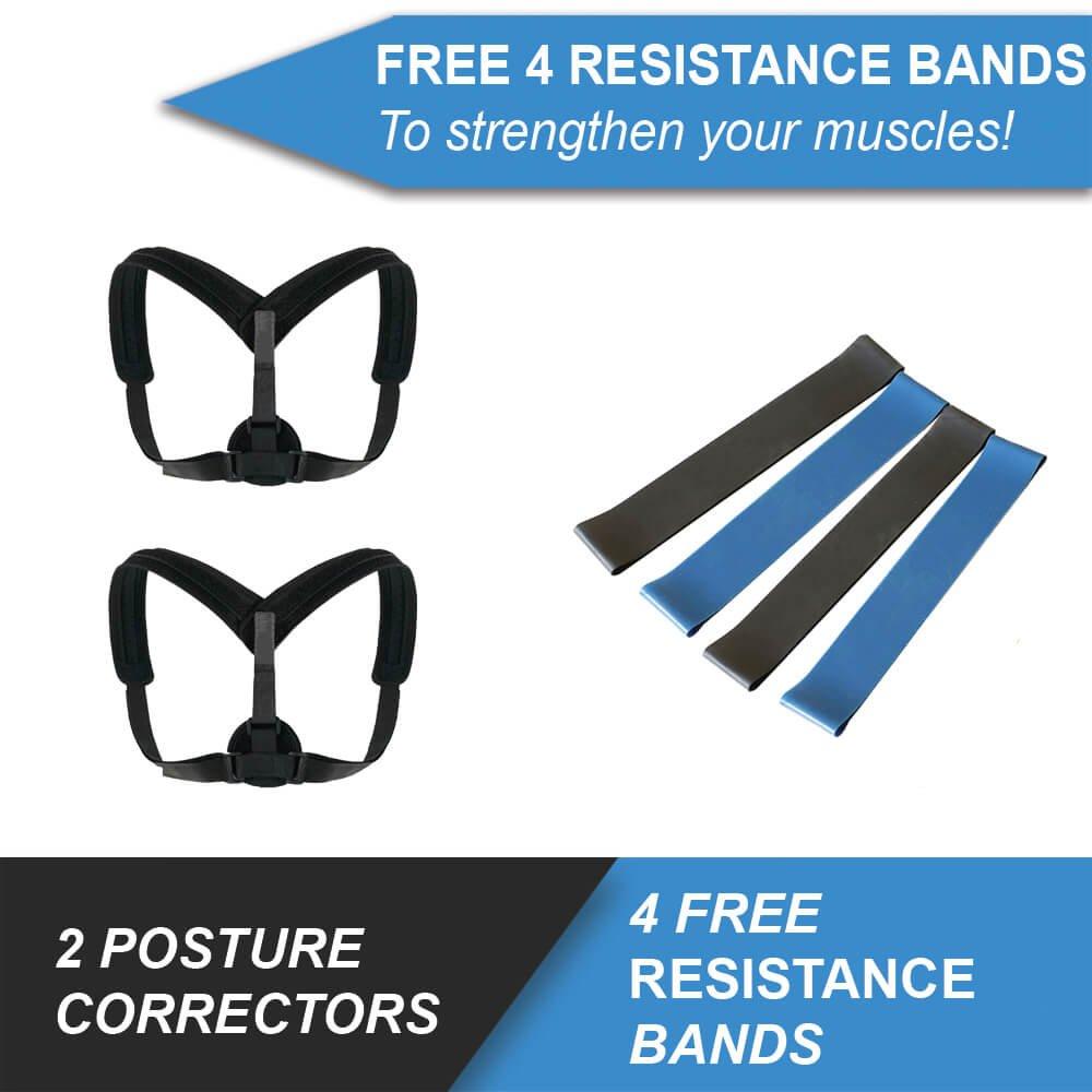 Posture Corrector for Women Men- Upper Back Support Brace, Adjustable & Discreet Cervical Clavical Strap to Improve Bad Posture, Shoulder Neck Back Pain Relief FREE 4 Resistance Bands (Pack 2)