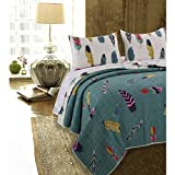 N2 2 Piece Ivory Teal Blue Dreamcatcher Quilt Twin Set, Dream Catcher Bedding Western Bohemian Southwest Feathers Pattern God Gray Pinions Red Feathered Native American, Cotton Polyester