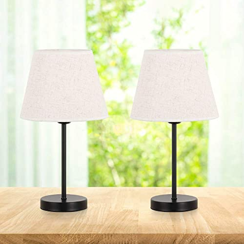 RZChome Table Lamps Set of 2, Modern Bedroom Nightstand Lamps with ON-OFF Switch and Plug in for Bedroom,Living Room,Office,Kids Room,Girls Room,Black Finish