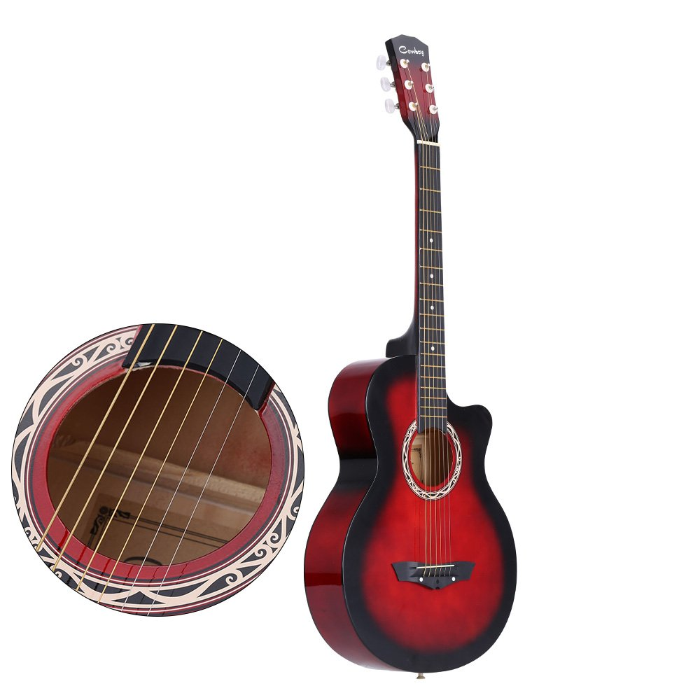 ammoon 38'' Acoustic Folk 6-String Guitar for Beginners Students Gift