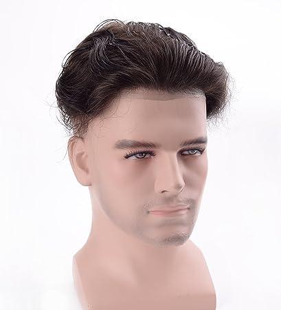 Amazon.com : Lordhair Verdadero Cabello Humano Piel Piel de Color Negro 1B # Pelucas Hombre de Pelucas : Beauty
