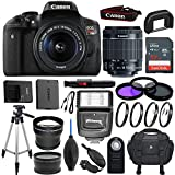 Canon EOS Rebel T6i 24.2 MP DSLR Camera with EF-S 18-55mm f/3.5-5.6 IS STM Lens & Sandisk 32GB Memory Card, Digital Slave Flash, Pro Tripod - Accessory Bundle (Certified Refurbished)