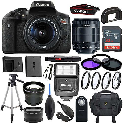 Canon EOS Rebel T6i 24.2 MP DSLR Camera with EF-S 18-55mm f/3.5-5.6 IS STM Lens & Sandisk 32GB Memory Card, Digital Slave Flash, Pro Tripod - Accessory Bundle (Certified Refurbished) by Canon