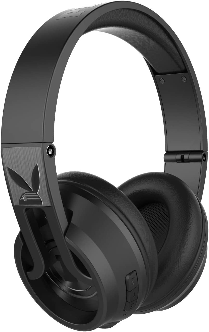 Playboy Icon 1 Better Premium Bluetooth Headphones with industry Leading Performance, Better Leather Over Ear Comfort, Built-in Microphone, Noise Isolating Sound, Best Value Price, Black