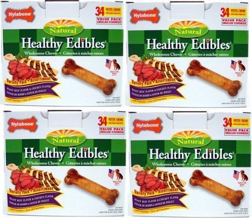 Nylabone Healthy Edibles Roast Beef/Chicken Variety Value Pack, Petite 136ct (4x34ct)