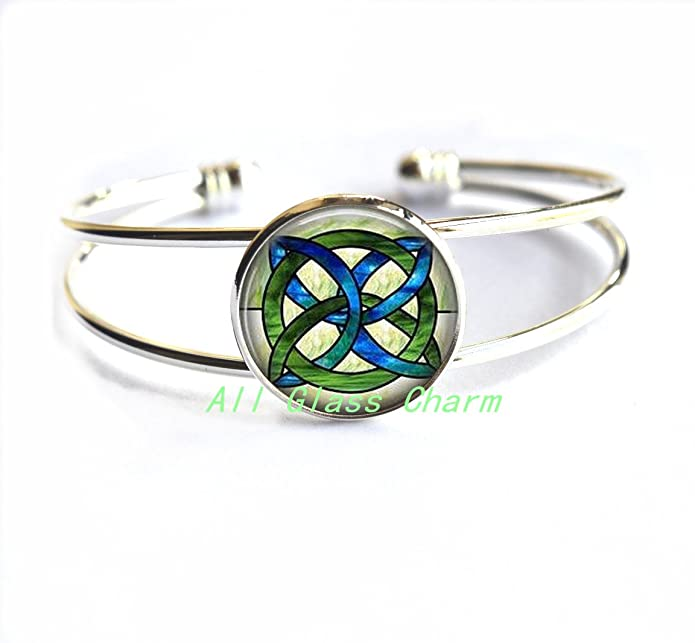 Celtic Knot Bracelet Celtic Bridal Jewelry,AS115 Charming Bracelet,CELTIC WEDDING Jewelry Stained Glass Green and Blues Celtic Knot Irish Jewellery