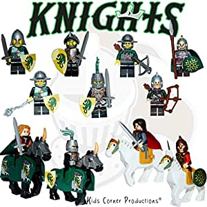 Kids Corner Productions - ROYAL KNIGHTS | 10 Mini figures Set + 4 Horses - Medieval Heroic Knights | Horses, Shields, Swords and Stand Toys Building Block