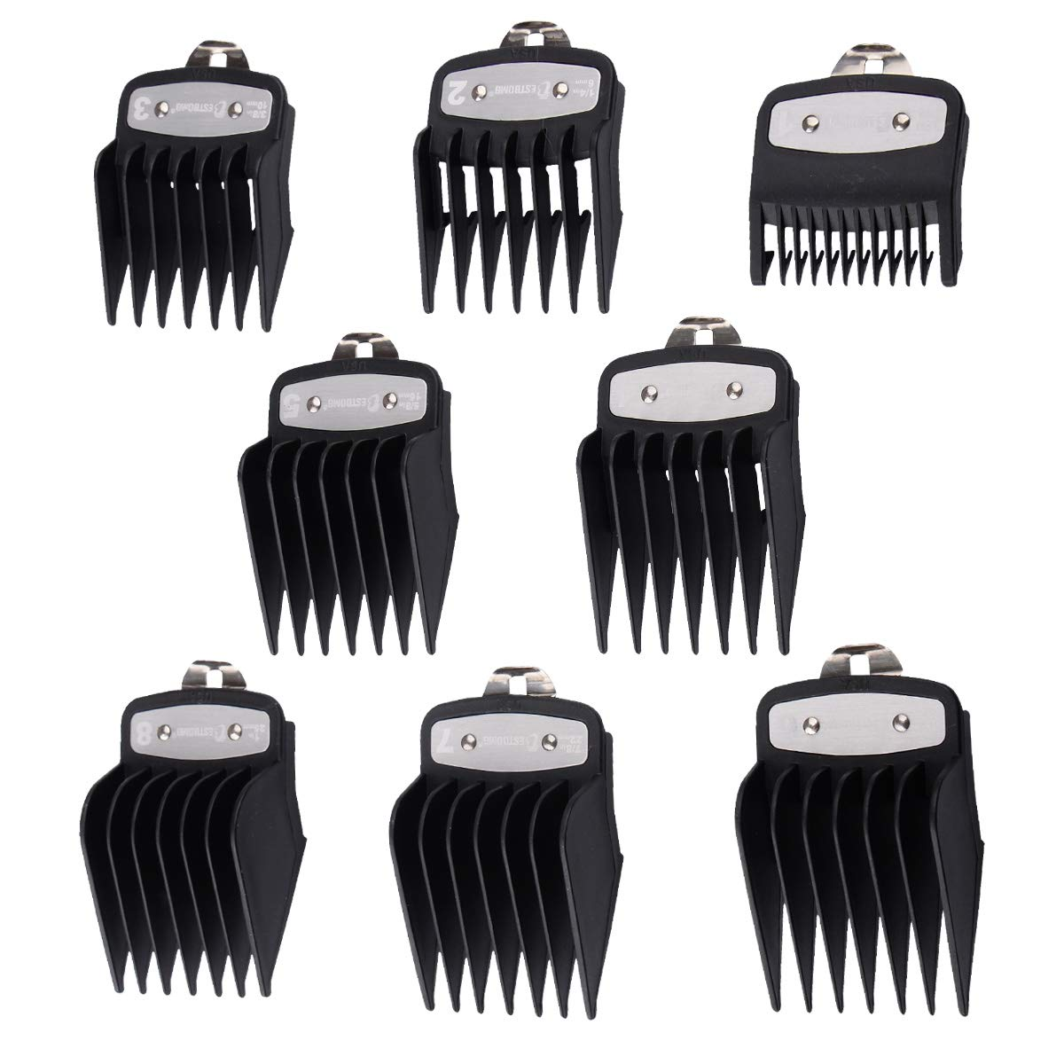 "8Pcs Black Professional Hair Clipper Combs Guides #3171-500 – 1/8"" to 1"" for Full Size Standard Adjustable Wahl Clippers,Black"