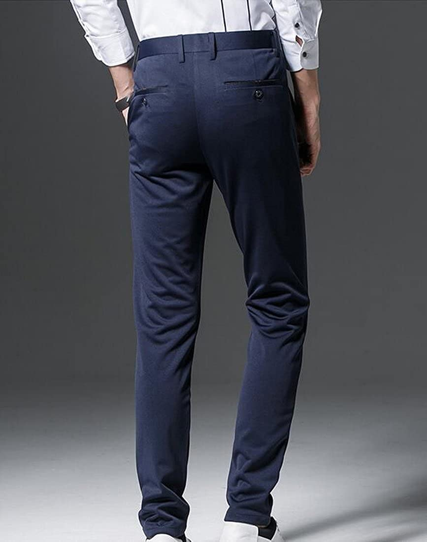BYWX Mens Bussiness Work Wrinkle-free Stretch Slim Fit Flat-Front Pants