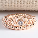 Jixin4you 18K Rose Gold Plated Cubic Zirconia