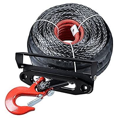 """Astra Depot 92ft x 1/2"""" Synthetic Winch Rope Protective Sleeve w/RED Hook + 10"""" Anodized Black Hawse Fairlead + 254mm Flip-up License Plate Holder Kit Compatible Jeep Accessories ATV UTV Pickup Truck"""