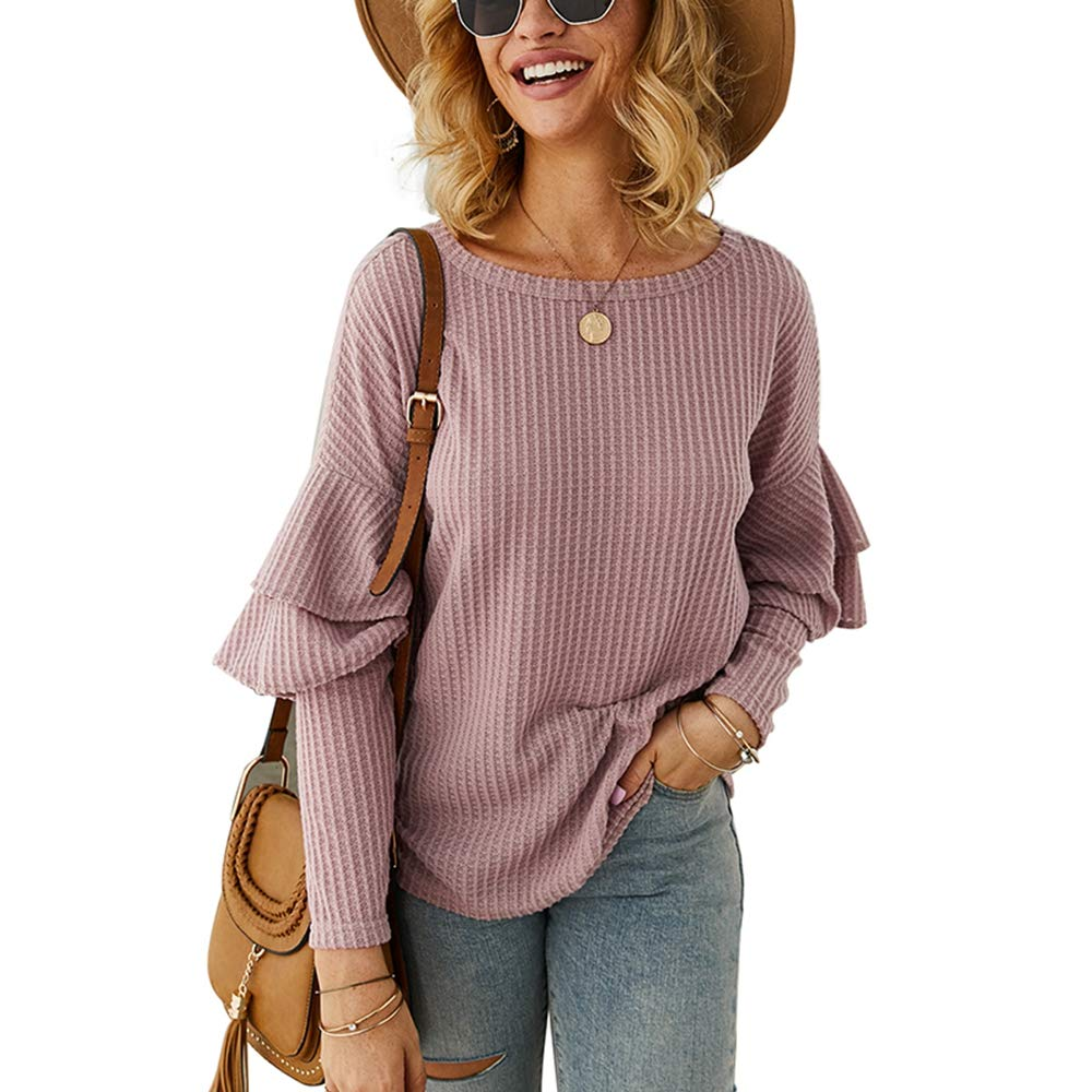 Women's Casual Knit Tops,Long Ruffle Sleeve Crew Neck Plain Solid Pullover Sweater Loose Shirts Tunic Pink by KINGLEN Women Top