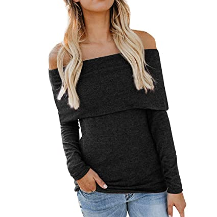 09b99e64d65c2 KFSO Womens Casual Long Sleeve Solid Off Shoulder T Shirts Tops Blouse Tee  Top (Black