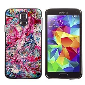 TopCaseStore / la caja del caucho duro de la cubierta de protección de la piel - Pink Oil Colors Teal Pink Dripping Chaos - Samsung Galaxy S5 SM-G900