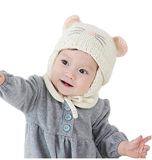 71ad28d0883 Amazon.com  Eyiou Baby Infant Earflap Beanie Hat Toddler Girls Winter Warm  Crochet Cap Cute Cat Knitted Beanie Hat 6-24Months (Beige)  Clothing