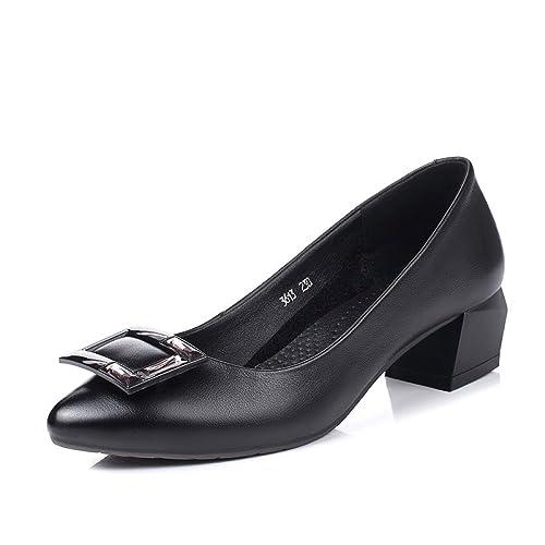 Cuero Mujer Tacón De Zapatos Moda Medio zB5WqFwH