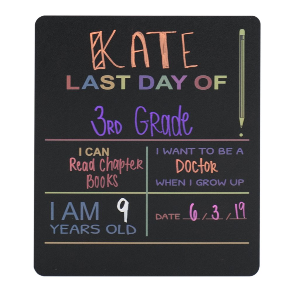 """Custom Product Solutions Reusable Last Day of School Chalkboard Sign. Photo Prop Board, Black w/Color Print - 12"""" x 10"""" Rectangle"""