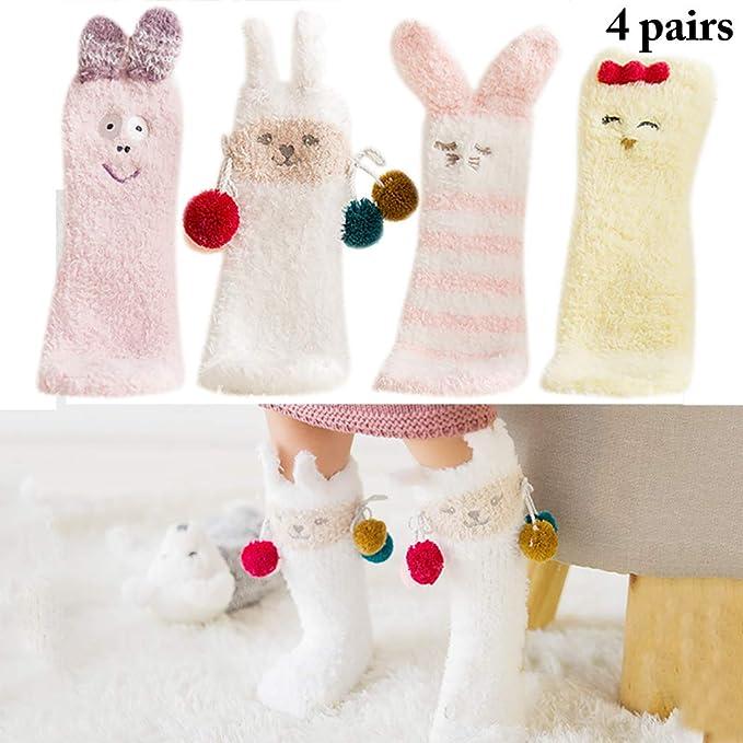 Zoylink 4 Pares De Calcetines De Navidad Dibujos Animados De Animales Crew Calcetines Calcetines De AlgodóN Para NiñOs: Amazon.es: Ropa y accesorios
