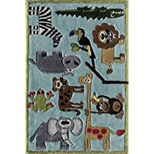 Momeni Rugs LMOJULMJ19BLU2030 Lil' Mo Whimsy Collection, Kids Themed Hand Carved & Tufted Area Rug, 2' x 3', Blue