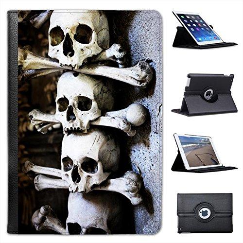 (Skulls Stacked with Bones in Cave Scary Halloween for Apple iPad Mini, iPad Mini 2, iPad Mini Retina, iPad Mini 3 Faux Leather Folio Presenter Case Cover Bag with Stand)