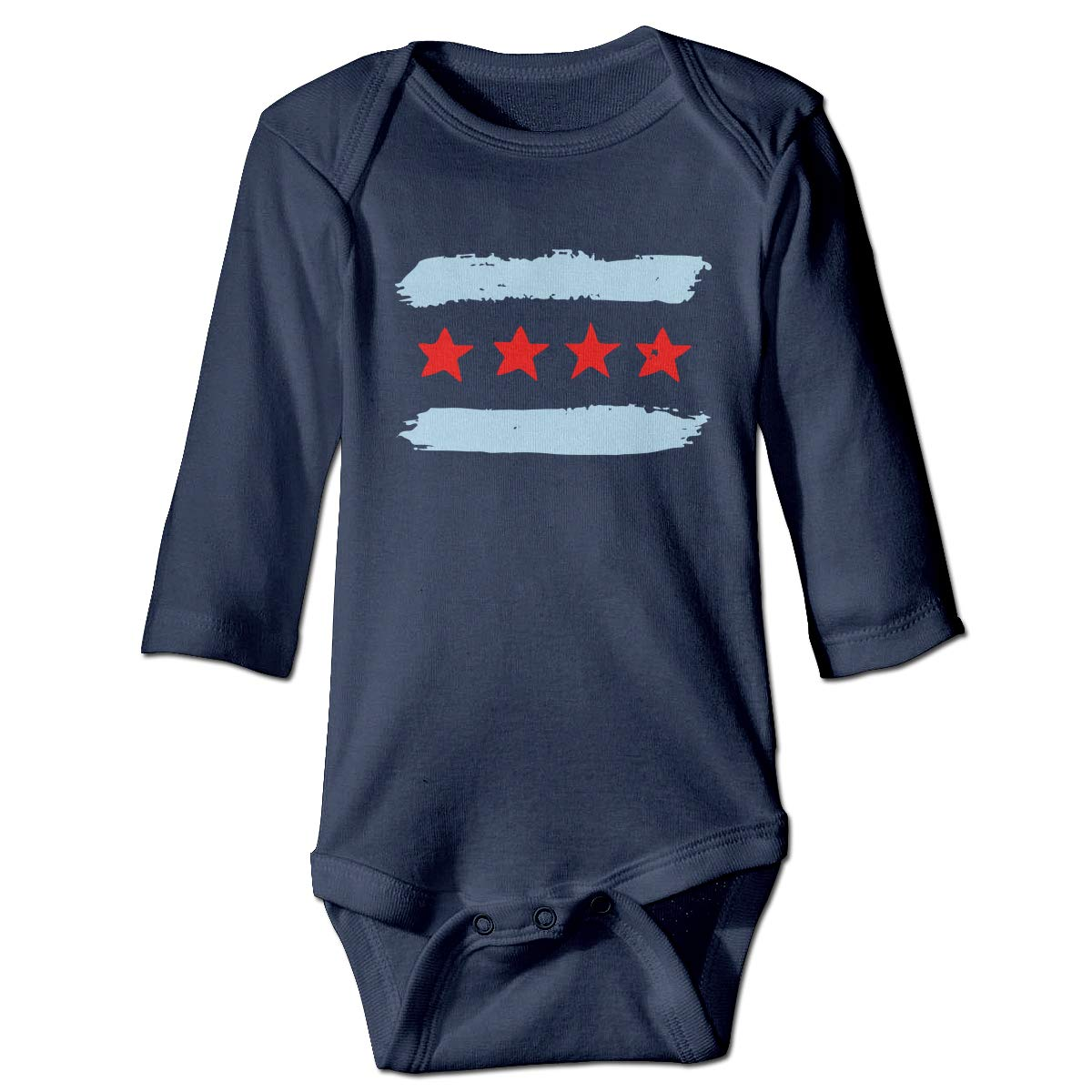 A14UBP Infant Baby Boys Girls Long Sleeve Jumpsuit Romper Chicago Skyline Unisex Button Playsuit Outfit Clothes