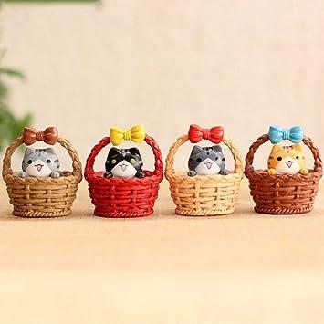 Miniatur Katzen Figuren Micro Landschaft Korb Katze Netten