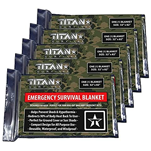 TITAN Two-Sided Emergency Mylar Survival Blankets, 5-Pack   Forest Camo (27-000003)