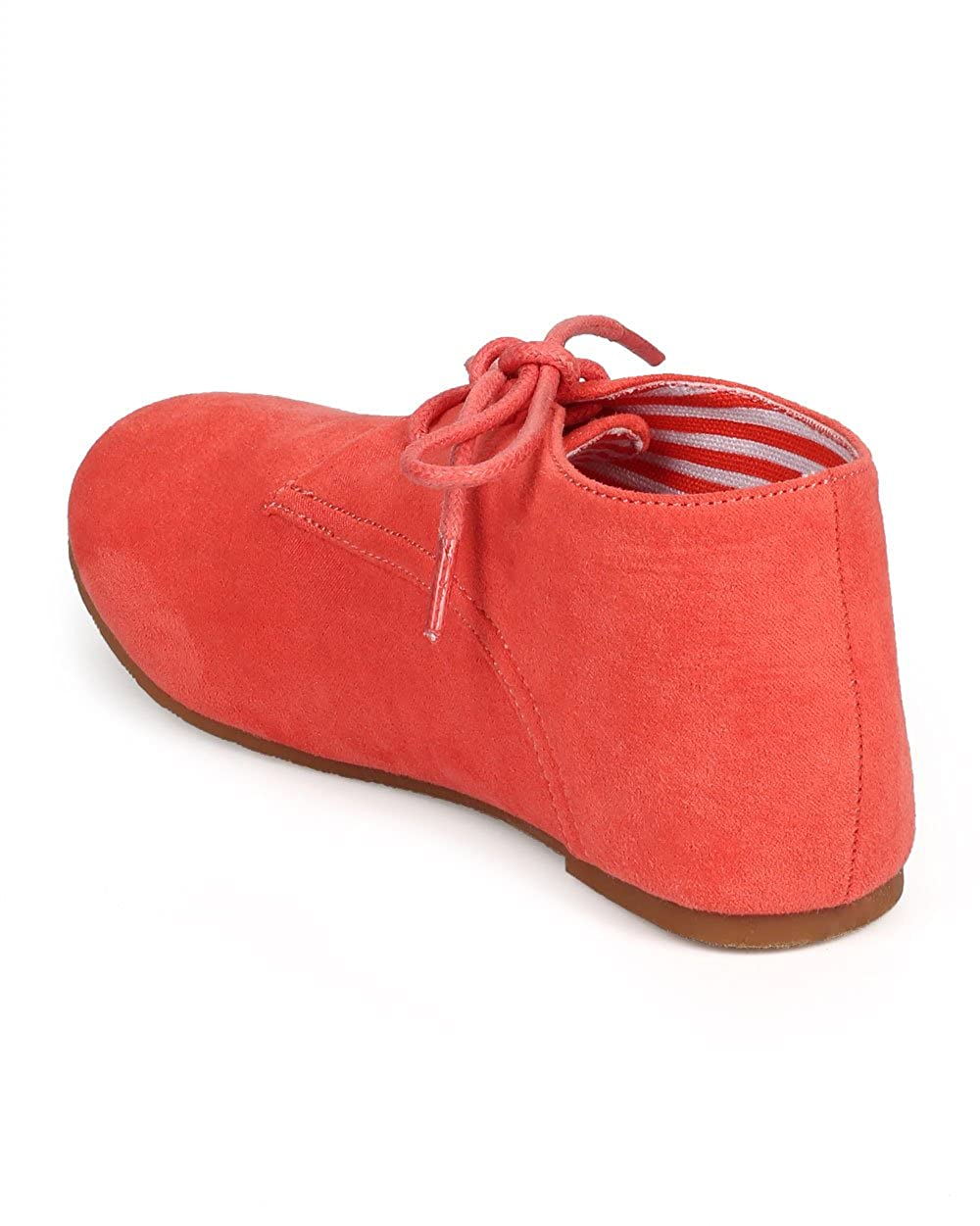 Size: Big Kid 4 DG66 Coral Suede Round Toe Lace Up Classic Ankle Oxford Flat Toddler//Little Girl//Big Girl