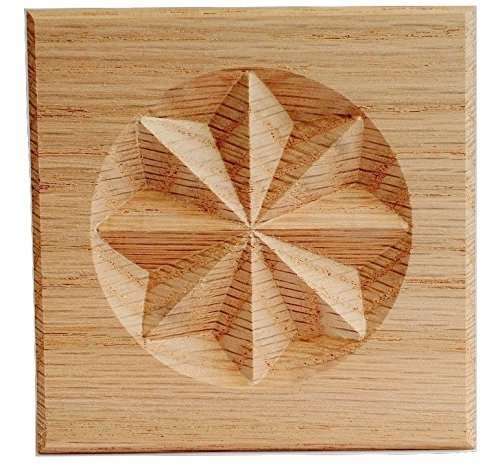 (Set of 4:Carved 8 Point Star Rosette Blocks, Made in USA (3.5