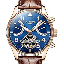 PASOY Men Automatic Mechanical Watch Tourbillon Blue Dial Brown Leather Band Day Week Waterproof Watches