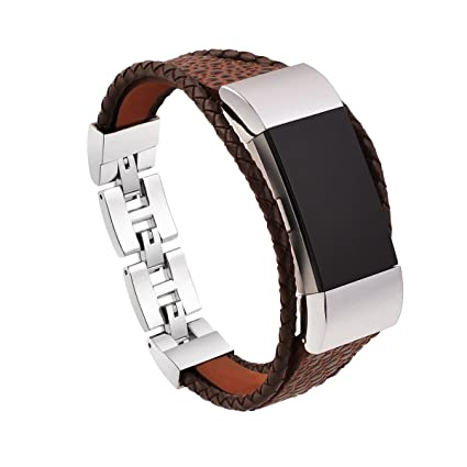I-SMILE Bands for Fitbit Charge 2, Leather Replacement Wristbands for  Fitbit Charge 2 Only, Large Small, Black, Brown(No Tracker, Replacement  Bands