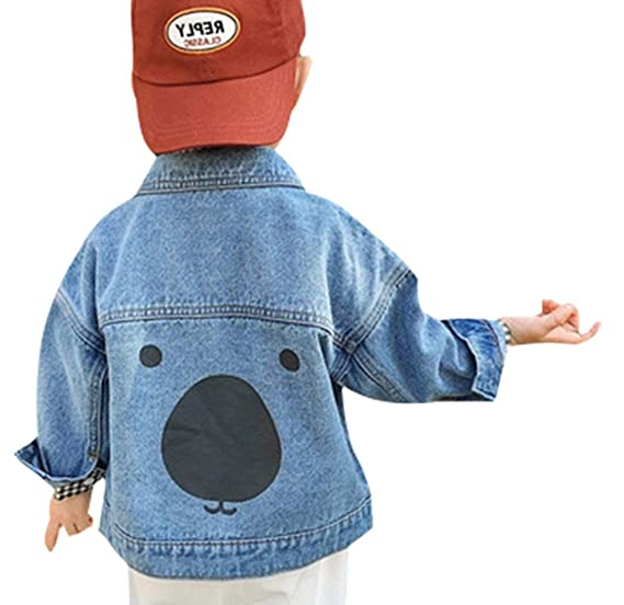 36f4eb7c5d457 Amazon.com  Toddler Baby Boys Basic Denim Jacket Bear Print Button Down  Jeans Jacket Top  Clothing