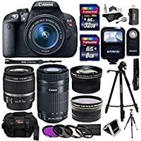 Canon EOS Rebel T5i 18.0 MP CMOS Digital SLR 18-55mm f/3.5-5.6 IS STM Lens Bundle with Canon EF 55-250mm f/4-5.6 Telephoto Lens, Polaroid .43x Wide Angle and Accessories (18 Items) At A Glance Review Image