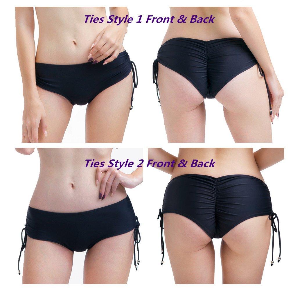 f9fbc62b02f73 Amazon.com  CENG MAU Women s Brazilian Cheeky Ruched Side Twist Ties Bikini  Boy Short Bottoms  Clothing