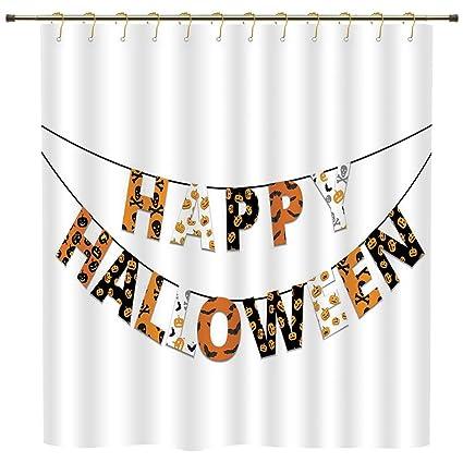 IPrint Shower CurtainHalloweenHappy Halloween Banner Greetings Pumpkins Skull Cross Bones Bats Pennant