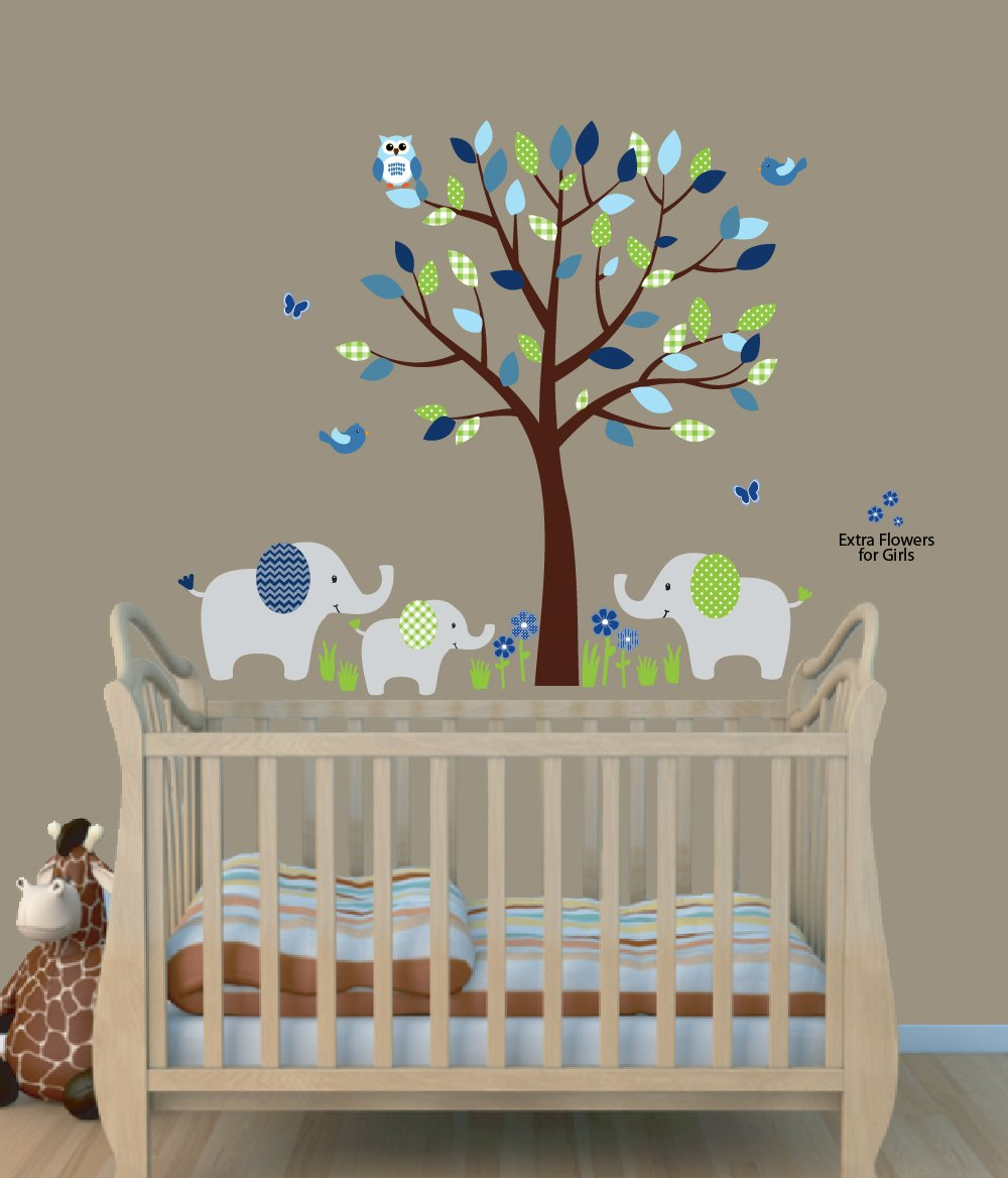 Fabric Tree Wall Stickers, Animal Stickers, Elephant Decal, Green Envy by Nursery Decals and More