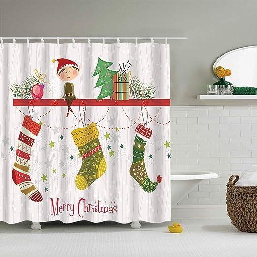 Christmas Elf Gift Print Waterproof Fabric Bathroom Shower Curtain /& 12 Hooks
