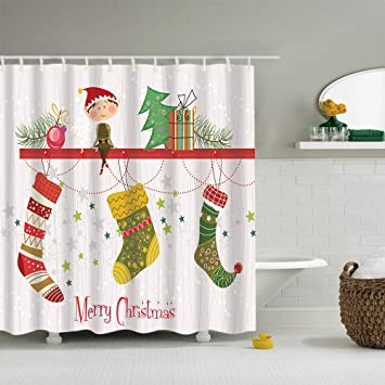 Really Cool Shower Curtains.Amazon Com Gojeek Elf Christmas Shower Curtain Xmas Gift