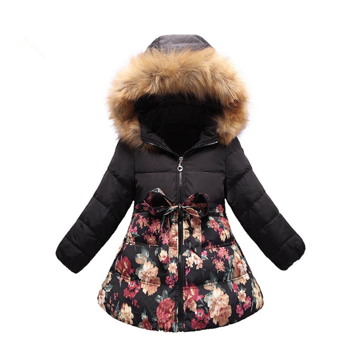 Ecollection Girls Kids Padded Winter Coat Flower Hooded Jacket