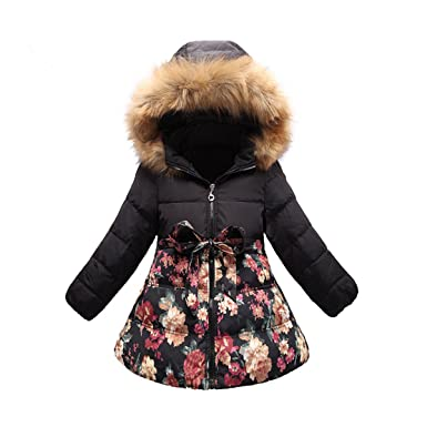 70363706d Ecollection Girls Kids Padded Winter Coat Flower Hooded Jacket ...