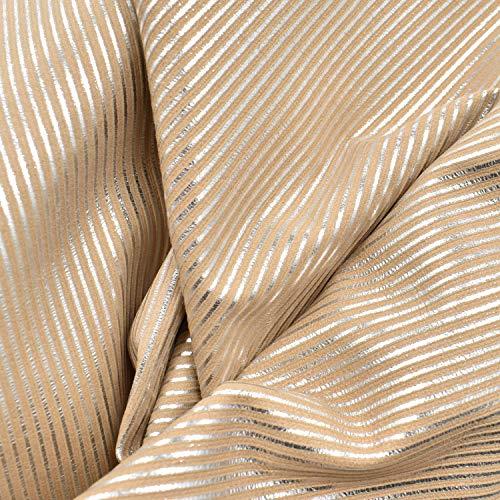 Leather Calfskin Metallic (Fashion Leather Calf Hide 4.2 SF Metallic Silver Peach 1oz Embossed Stripes-3)
