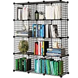 KOUSI Storage Cubes Wire Grid Modular Metal Cubbies Organizer Bookcases and Book Shelves Origami Shelving Unit, Black, 12 Cubes