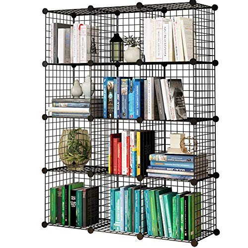 Stackable Wire Shelves - KOUSI Storage Cubes Wire Grid Modular Metal Cubbies Organizer Bookcases and Book Shelves Origami Shelving Unit, Black, 12 Cubes