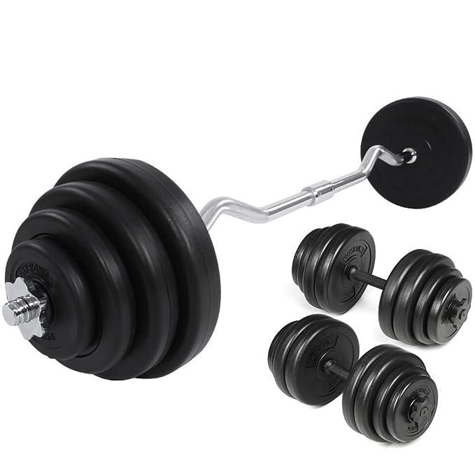 Physionics - Conjunto de barra curvada (23,5 kg, 120 cm) con discos de pesas y mancuernas de 30 kg: Amazon.es: Deportes y aire libre