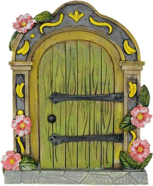 Muammax Puerta de jardín de hadas Puerta miniatura para accesorios de jardín de hadas Gnomo, decoración del hogar puertas de hadas (verde): Amazon.es: Hogar
