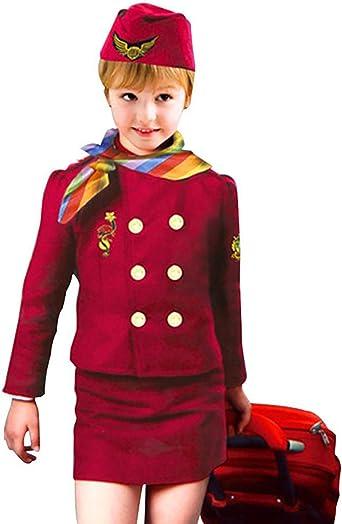 Stewardess Girls Child Flight Attendant Halloween Costume