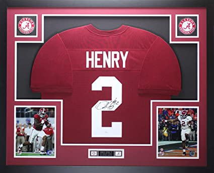 the best attitude 9ffa2 18dbf Derrick Henry Autographed Signed And Framed Maroon Alabama ...